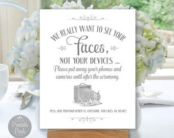 Printable Unplugged Wedding Sign, Grey Matte/Faux Silver, We Want To See Your Faces, No Phones, No Cameras, Choose Size (#UNP5A)