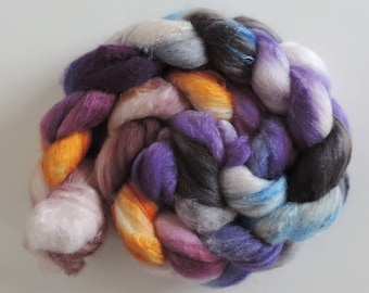 Polwarth-Silk,Evening Sun, top,handpainted dyed, roving for spinning and felting