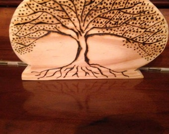 Tree of life woodburned plaque
