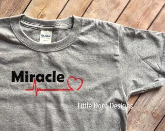 Miracle heart baby CHD awareness youth shirt