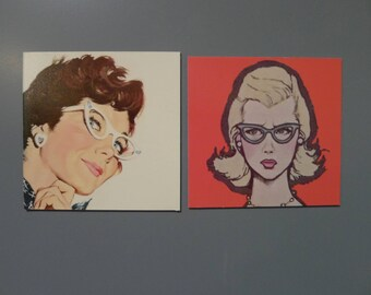Set of Two Vintage Ladies in Mid Century Glasses Magnets