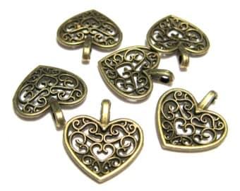 Antique Bronze Double Sided Filigree Heart Charm Pendants 16mm