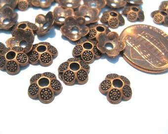 100pcs Antique Copper Flower Bead Caps 8mm