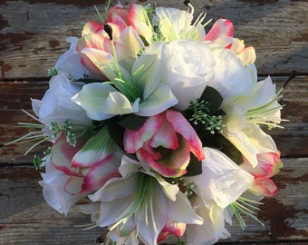 White rose, lily, pink tulip and hydrangea bouquet & bout
