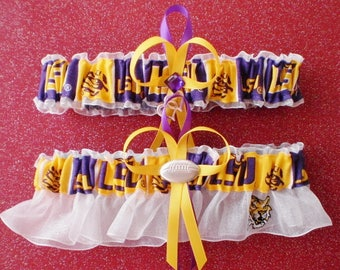 Louisiana State University Fabric Wedding Bridal Garter Set White Prom Double Heart and Football Charm