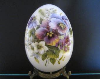 White Porcelain Egg Violet Flowers
