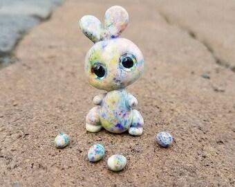 Splash confetti bunny! Made to order, Miniature bunny, colorful bunny, handmade colorful art bunny
