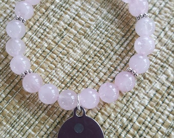 Rose Quartz with Semi Colon Charm Bracelet/Gift for Yourself/Birthday Gift/Best Friend Gift/Teen Gift