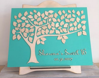 Sweet 16 Guest Book Bat Bar Mitzvah Birthday or Baby Baptism Tree of Wishes Sweet 16 Party Decoration Keepsake  Custom Colors Personalized