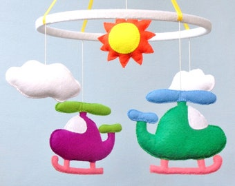 Helicopter baby boy mobile Nursery mobile Felt handmade mobile Baby mobile Baby crib mobile Baby shower gift