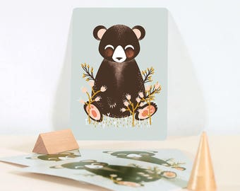 Card - Les Animignons :  the Bear - Blue Grey