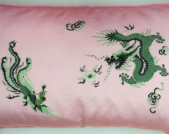 Vintage Pink and Green Dragon Standard Pillow Sham Set of 2 with Decorative Pink Cord Trim