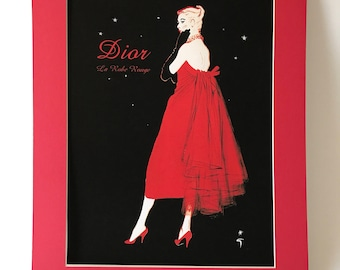 Vintage Christian Dior La Robe Rouge Giclee with Red Mat Ready to Frame 16 x 20