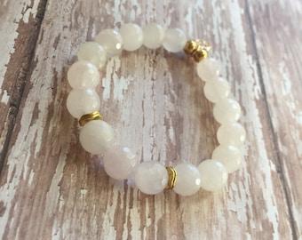 Faceted Jade bracelet (shiny or matte)