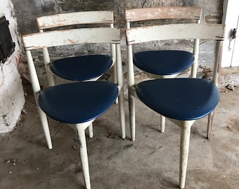 Danish Modern Chairs Frem Rojle Denmark White Chippy Paint Blue Mid Century Modern Chairs 3 leg Chairs Dining Swedish Distressed Chairs