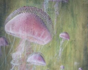 3 jellyfish, acrylic on raw oak, 40x60cm.