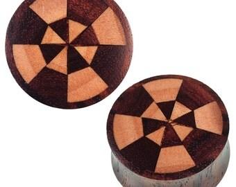 Plug dark brown triangle surface color pattern tribal organic wood (No. HPT-316)