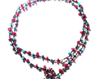 Necklace of pieces of stone chain cotton ladies jewelry waxed black turquoise red 100 cm (KK-185))