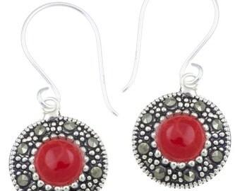 Silver earrings 11 mm coral Silberrrand 925 sterling silver glitter earrings (No. OMS-368)