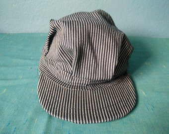 Vintage hickory denim stripep railroad worker enginneer hat small like size 7.