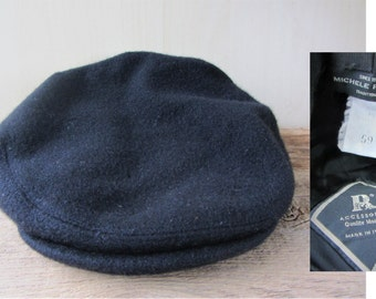 MICHELE RINALDI Vintage Black Fleece Cabbie Hat Newsboy Driver Cap Size 59 cm Made in Italy R Accessories Upscale Casual