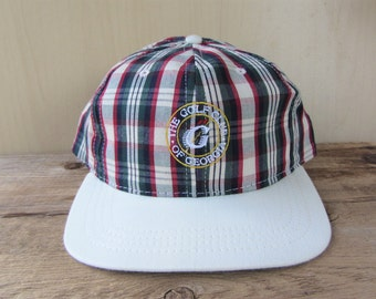 Vintage 90s The GOLF CLUB Of GEORGIA Plaid Strapback Hat Country Club Golfing Duckster Cap Embroidered Made in U.S.A. Ballcap