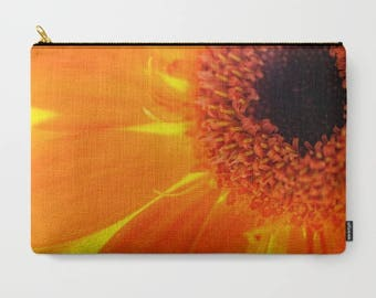 Orange Clutch, Flower Macro Photo, Daisy Photography, Accessory Bag, Make Up Organizer, Travel Cosmetic, Pencil Case, Small Laptop Carrier