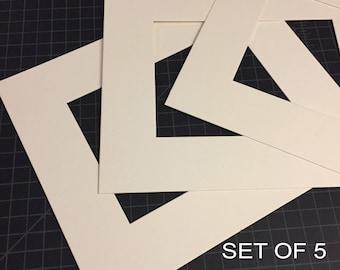 Set of (5) - 8x10 or 11x14 Mats for Artwork - Frame Mats - Photography Matting - Mats for Framing - Mats for Photos - Precut Photo Mats