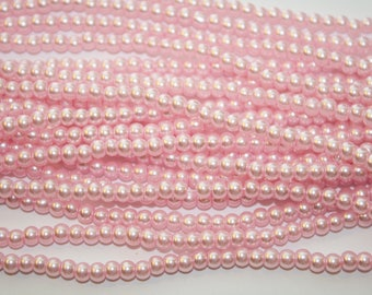 Pink Beads, Pink Glass Beads, Necklace Beads, - 1 Strand - D183