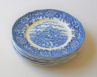 Vintage English Village blue and white ironstone bread and butter plates, 6 plates, Salem China Company Olde Staffordshire, cottage dishware