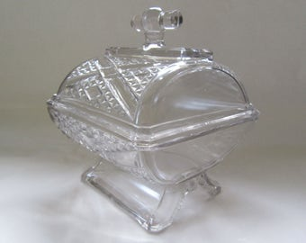 Candy Dish; Antique Candy Dish, Covered Candy Dish, Pressed Glass Candy Dish