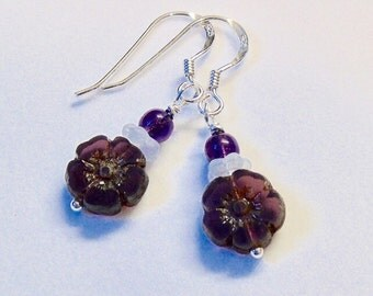 Deep purple bloom sterling silver earrings