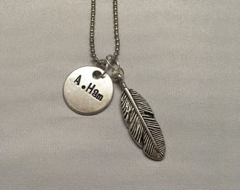 A. Ham Alexander Hamilton Hamilton Musical Broadway Necklace Handstamped Feather Write Nonstop Rise Up