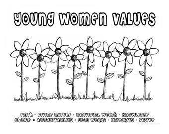 "Young Women Values Coloring Sheet - YW Values Flowers 8.5""x11"""