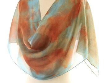 turquoise copper scarf, eco print silk scarf, eucalyptus indigo shawl, botanical print scarf, boho silk gift hand dyed ecological accessory