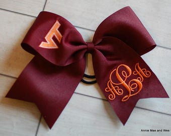 VT Virginia Tech Hokies Monogrammed Cheer Bow