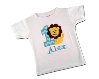 Boy's Lion Birthday Shirt with Chevron Number and Embroidered Name