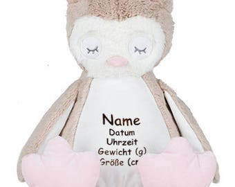 Fluffy Owl with emboidery, embroidered with name, date, weight and size