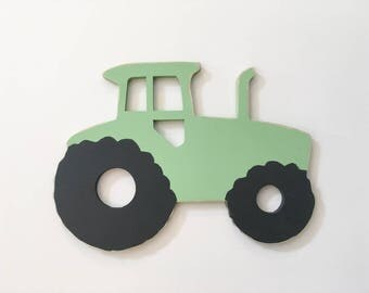 Wooden Tractor wall sign for a transportation theme room green tractor farm theme party decor