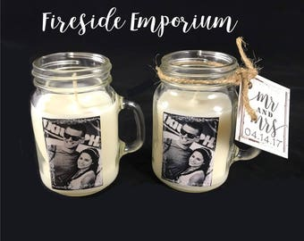 PERSONALIZED Miniature Mason Jar Wedding Favors, Rustic Wedding, Mason Jar Bridal Shower Favors, Mason Jar Candles