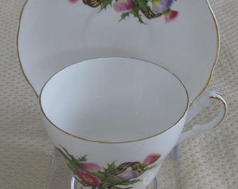 ARGYLE Bone China Cup and Saucer, Thistle Pattern