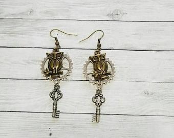 Owl and key earrings