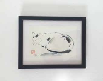 Framed Print Art, Cat, Asian Print