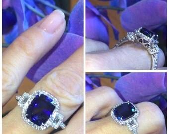 Sapphire Engagement Ring 4.70tw Diamond/Sapphire Halo Wedding Ring 3 stone Ring Anniversary 18k gold Cocktail Ring Pristine Custom Rings