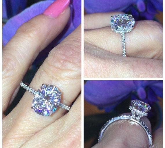 Forever One Oval Moissanite & Diamond Engagement Ring 10x8mm