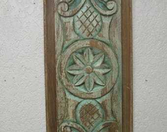 Old Door Hand Carved Antique Panel-Vintage-Mexican Folk Art-Primitive-13.5x30 inches-Art--Unique-Wall-Soft Green