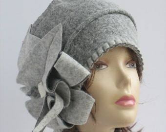 Cloche hat chunky womens Gray ladies winter beanies handmade wool floppy hat chunky hat womens wool beanies cloche hats 1920s womens hats.