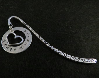 Hand stamped personalized washer, with a heart charm,  on a silver tone bookmark