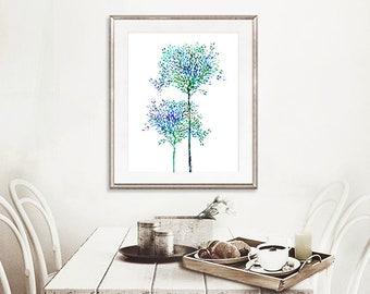 Tree wall decor, tree art print, nature wall art, tree home decor, living room decor - H260