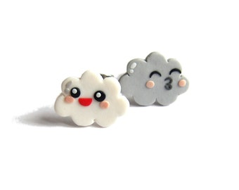 Funny Earrings, Polymer Clay Earrings, Cloud Earrings, Kawaii Earrings, Girls Outfit, Small Girls Earrings, Gray Earrings, White Earrings